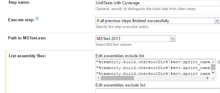 List test assemblies in TeamCity for MSTest build step